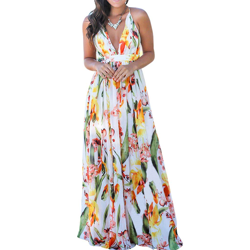 Mysky Popular Women Sweet Floral Print Beach Maxi Dress Sexy Deep V-Neck Backless Criss Cross Party Long Dress White