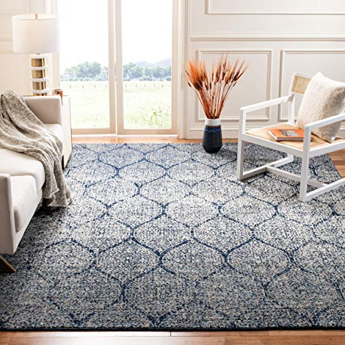 Safavieh Madison Collection MAD604G Navy and Silver Distressed Ogee Area Rug (10' x 14') (Rugs 10x14)