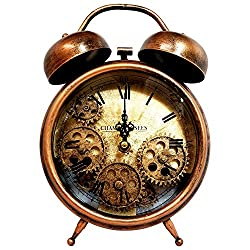 Desktop Decorative Clock - European Retro Vintage Clock Home Decor - Metal Decoration with Alarm and Roman Numerals - Perfect for Living Room, Bedroom or Office by Royal Brands