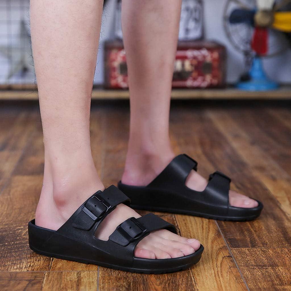 Men Flat Sandals 2019 Casual Double Buckle Adjustable EVA Lightweight Slip-On Sandal