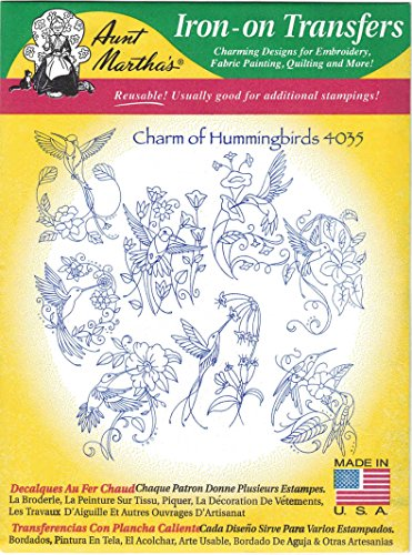 (Charm of Hummingbirds Aunt Martha's Hot Iron Embroidery Transfer)