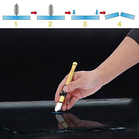 Herramienta profesional de cortador de vidrio con mango de aleación de tungsteno y carburo con rango de 2-19mm Autocebado para botella de vidrio grueso ...