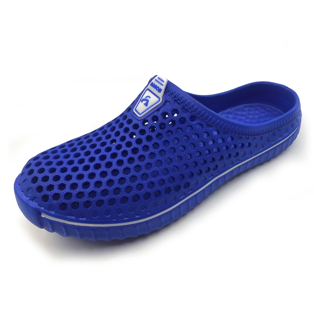 Amoji Garden Clogs Shoes House Slippers Indoor Room Sandals Outdoor Mule Outside Shower Crocks Summer Breathable Quick Dry Men Women Ladies Adult Female Male Girl Boy Blue 9US W/8US M