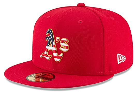 New Era Oakland Athletics Scarlet 4TH of July Cap 59fifty 5950 Fitted MLB  Limited Edition 843a1573d55