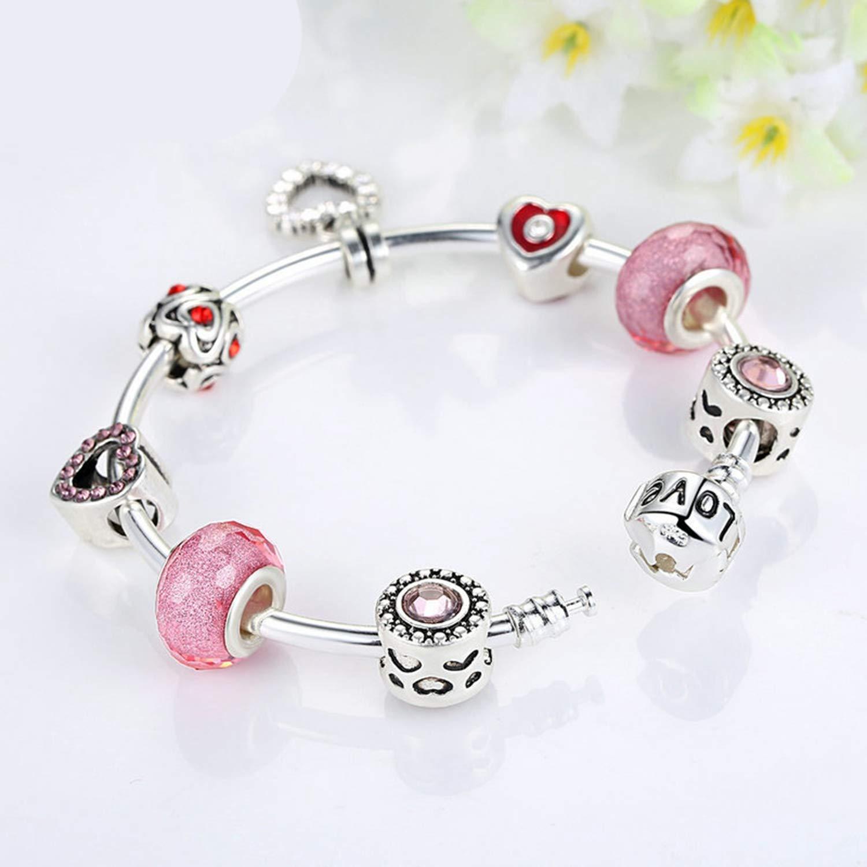 Nerefy Silver Radiant Heart Pink Charm Bangles DIY Beads Fit Original Bracelet