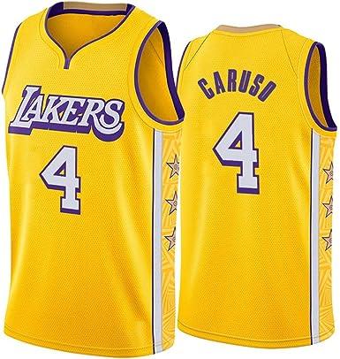 YSA Camiseta de Baloncesto Alex Caruso 4# Ropa de Entrenamiento sin Mangas Swingman de la NBA tama/ño Completo Uniforme de Baloncesto de Los Angeles Lakers City Edition para Hombre