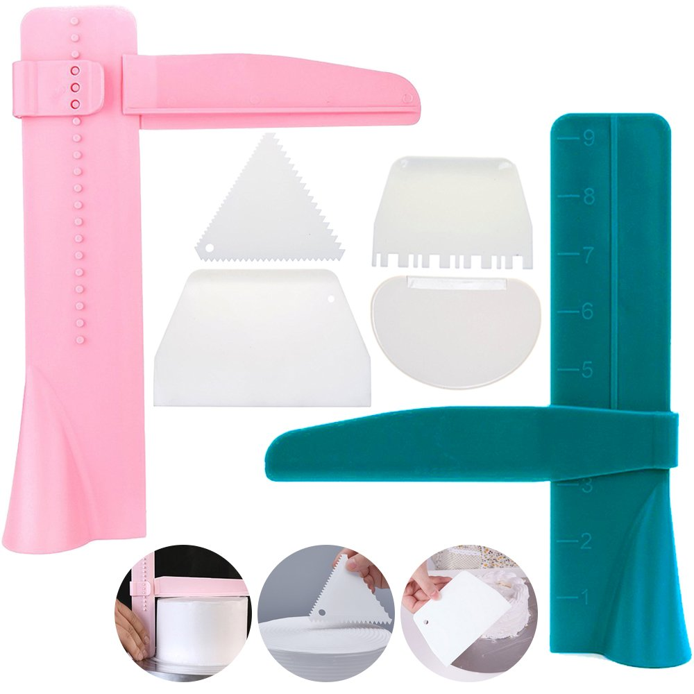 2pcs Adjustable Cake Smoother Polisher with 4pcs Different Scrapers, FineGood Fondant Cream Edge Smoothing Decorating Tools - Green, Pink