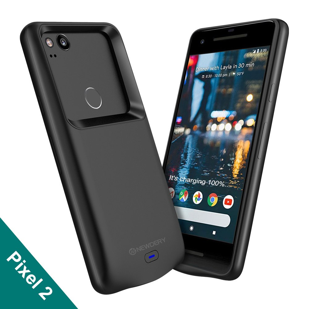 Google Pixel 2 Battery Case, Newdery 4700mAh Rechargeable External Protective Pixel 2 Charger Case with Data Sync Thru, Portable Power Bank Charging Case for Google Pixel 2