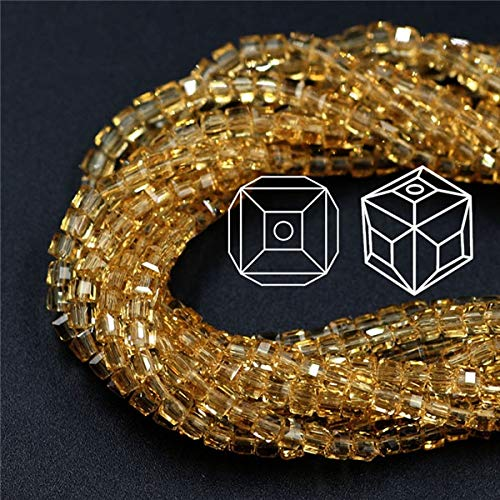 (Calvas Upscale Lampwork Glass Square Beads 2/3/4/6/8mm Spacer Crystal Faceted Cube Beads for DIY Making European Charm Bracelet - (Color: Gold, Item Diameter: 2mm 1000pcs))