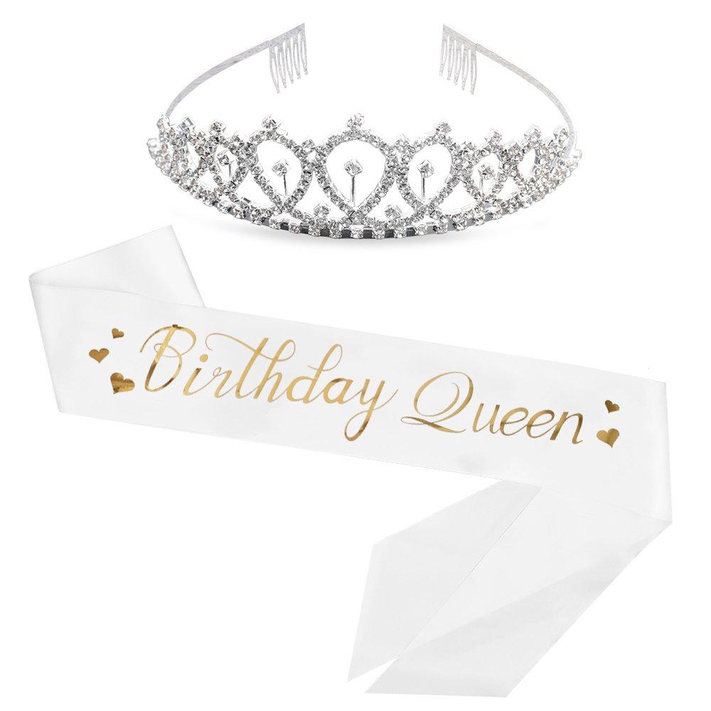 Birthday Queen Sash & Rhinestone Tiara Kit - 15th 16th 17th 18th 21st 22nd 25th 30th Birthday Sash Birthday Gifts Party Favors, Supplies and Decorations (Sash&Tiara)