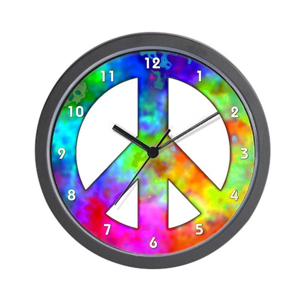 amazoncom cafepress retro tiedyed peace sign wall clock standard multicolor home u0026 kitchen