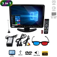 KIT TV FULL HD PORTATIL 17 POLEGADAS COM DVD INTEGRADO MONITOR MINI COM HDMI USB CONTROLE REMOTO USB SD BIVOLT