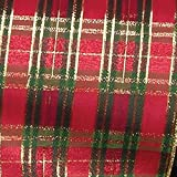 Red, Green, and Gold Christmas Tartan Wired Craft Ribbon 9'' x 20 Yards