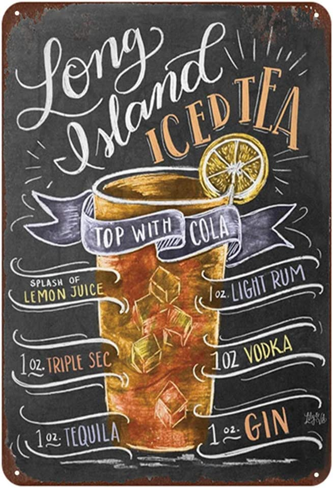 Long Island Iced Tea Cocktail Metal Signs Home Decor Vintage Tin Signs Pub Home Decorative Plates Metal Sign Wall Plaques Iron Painting 12 x 8 Inch