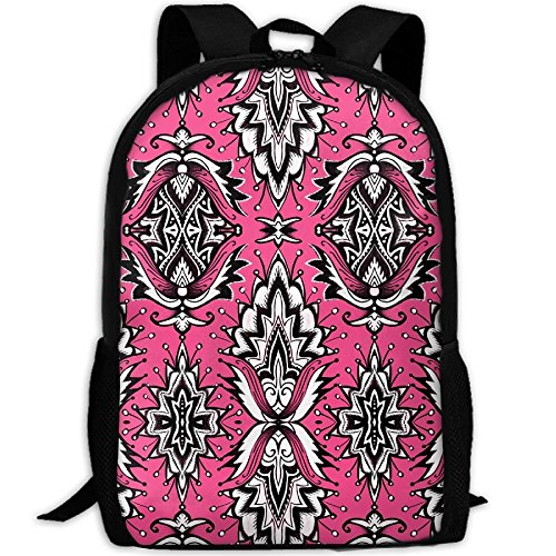 - Casual Large College School Daypack, Laptop Outdoor Backpack, Travel Hiking& Camping Rucksack Pack For Ink And Black Girly Glam Damask Wallpaper Print Mode
