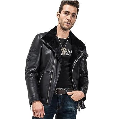 d7cc36f7ebea LINAILIN Men s Shearling Coat Black Short Fur Coat Sheepskin Slim Genuine  Leather Jacket for Men Lambskin