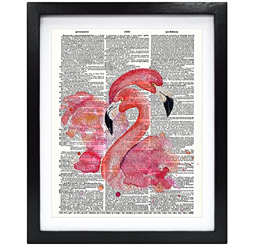 Susie Arts 8X10 Unframed Watercolor Flamingo Upcycled Vintage Dictionary Art Print Eco Friendly Book Art Print Home Decor Wall Art V007