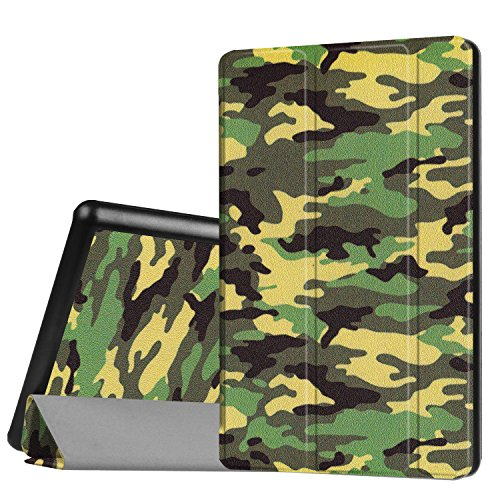 Fire HD 8 6th Case, Ultra Thin Multi-Angle Stand Tablet Case With Magnetic Closure Auto Sleep/Wake Function, Tri-Fold PU Leather Stand Case Cover For Fire HD 8 Tablet (2016 6th Gen Only)- (Camo) (Camouflage Leather Tri Fold)