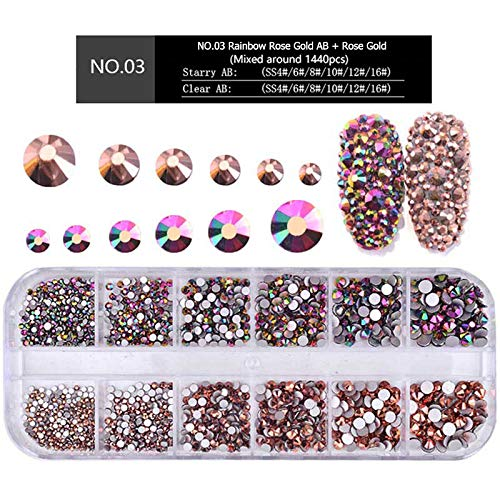 (MIOBLET 1440pcs (Rainbow Rose Gold AB + Rose Gold)Round 1.5mm-3.8mm Shiny Nail Art Rhinestones Flatback Glass Gems Stones Beads For Nail Decoration Crafts Eye Makeup Clothes Shoes Mix SS4 6 8 10 12 16)