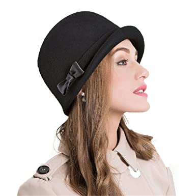 Felt Hat Black Protect Ear Warm Bowler Winter Floppy Ladies Church ... b16a93e19a5