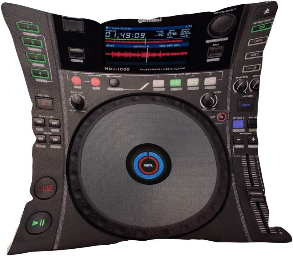 Sallydream Fundas Cojin 45x45 Digital DJ Music Sofa Square Funda de Almohada A