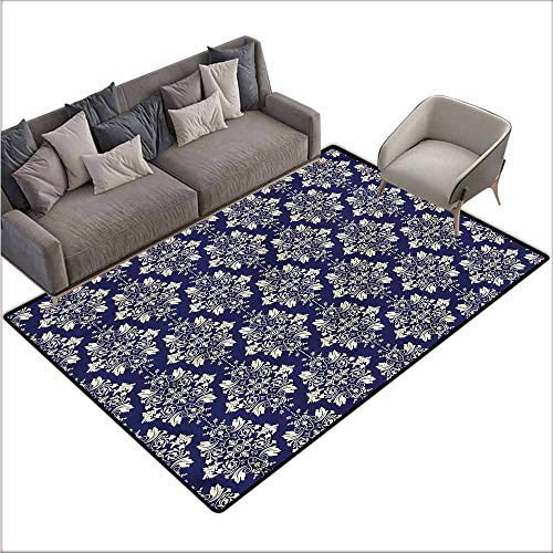 """Kitchen Carpet Royal Blue,Oriental Floral Damask 60""""x 96"""",Outdoor Rugs for patios"""