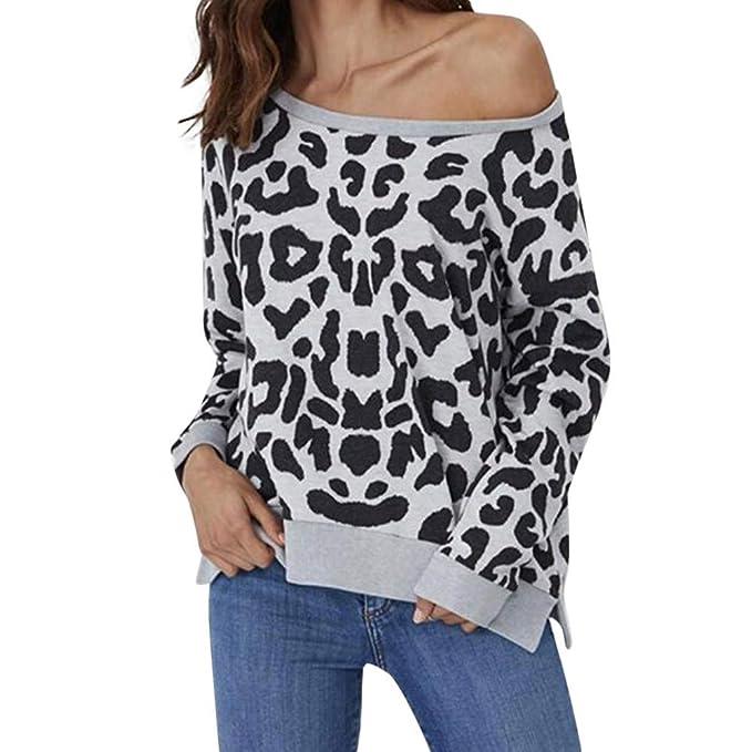 LEEDY Sudadera con Estampado de Leopardo Casual para Mujer Pullover Diario Camisa de Manga Larga Tops Blusa: Amazon.es: Ropa y accesorios