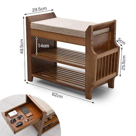 CUIS- Bamboo Shoe Rack Bench - Cojín extraíble/Cajón Oculto ...
