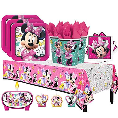 Minnie Mouse Table Cover - Disney Minnie Mouse Happy Helpers Birthday Party Pack for 16 with Plates, Napkins, Cups, Tablecover, and Candles