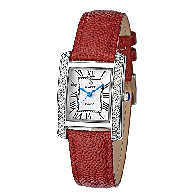 Amazon.com: WWOOR Womens Watches Quartz Watch Ladies Wrist Watches for Women Stainless Steel Strap WR0011 (red Silver White): Watches