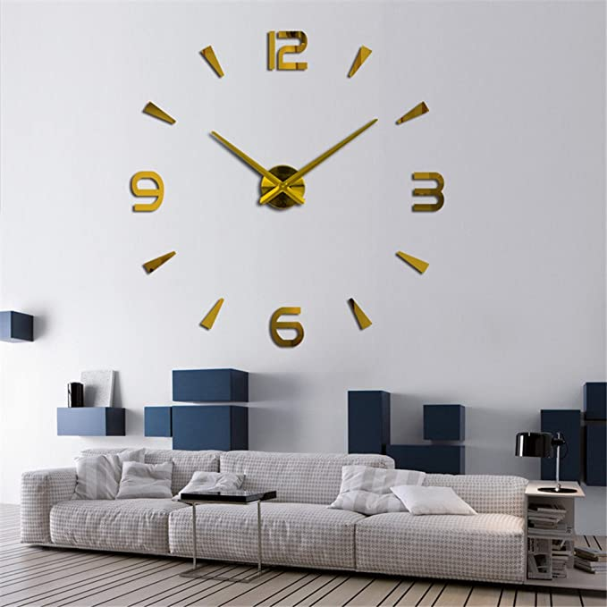 Amazon.com: LEKALAS NEW Wall Clock Quartz Watch Reloj De Pared Modern Design Large Decorative Clocks Living Room Blue 37inch: Home & Kitchen