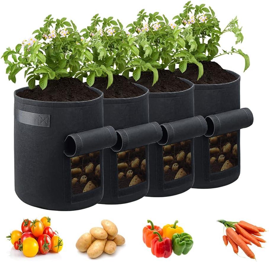 JERIA 4-Pack 7 Gallon Potato Grow Bags w/Access Flap, Aeration Fabric Pots with Handles(Black)