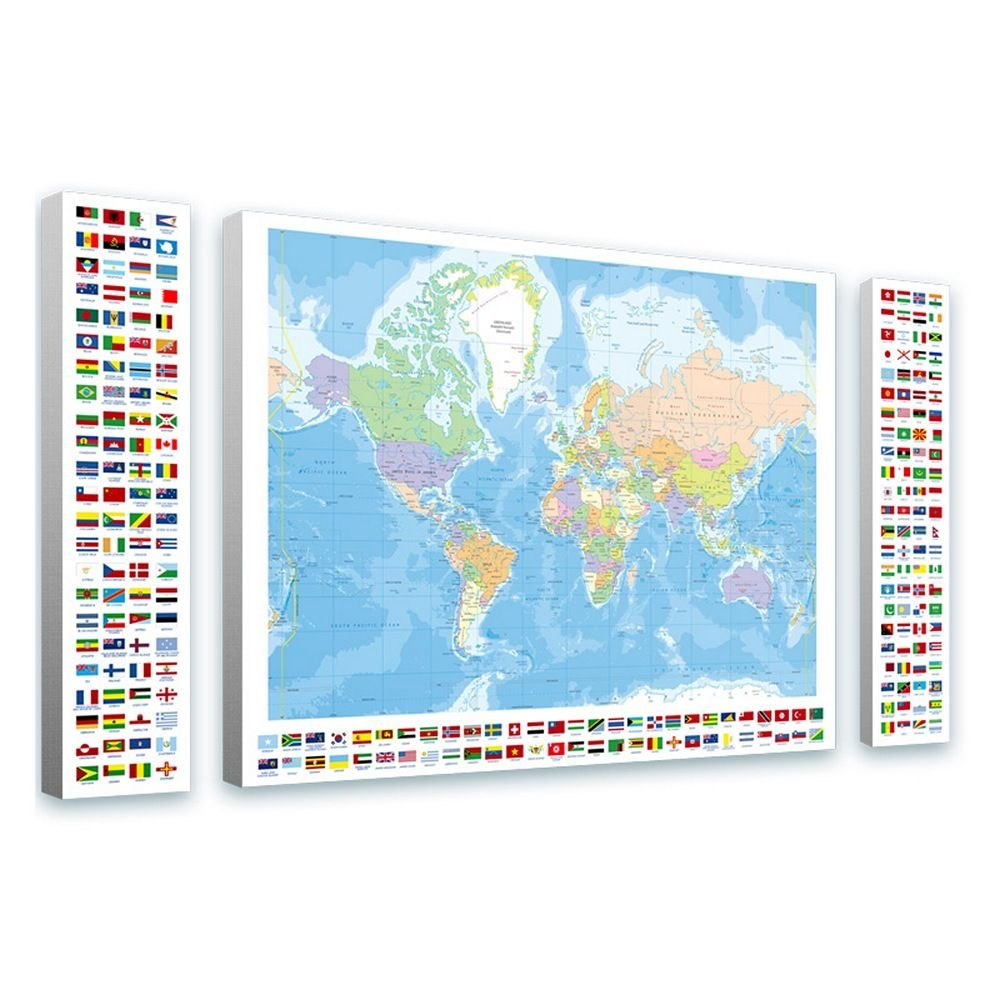 Alonline Art - Political Modern World Map Flags World Map FRAMED STRETCHED CANVAS (100% Cotton) Gallery Wrapped - READY TO HANG   54''x31'' - 138x79cm   3 Panels split Framed Decor Framed Art by Alonline Art