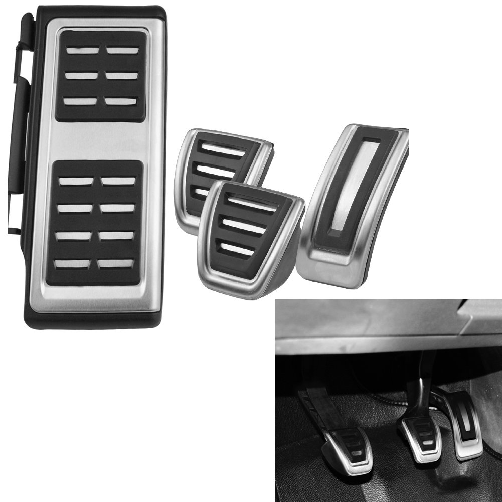 Angelguoguo MT No Drill Stainless Steel Pedals Footrest Cover Accelerator Brake For Volkswagen VW Golf 7 MK7 GTi