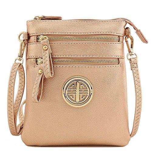 with Multi Crossbody Zipper Gold Rose Emblem Wristlet Bag Pocket zqzrXwH