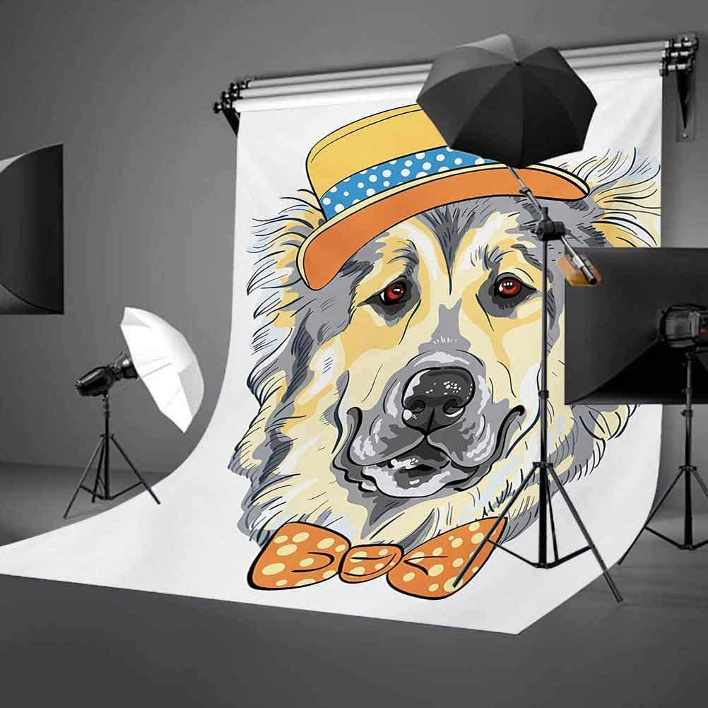Animal 10x12 FT Photo Backdrops,Cartoon Art Style Animal Theme Cute Dog in Hat and Bow Tie Illustration Background for Baby Birthday Party Wedding Vinyl Studio Props Photography Pale Yellow Pale Grey