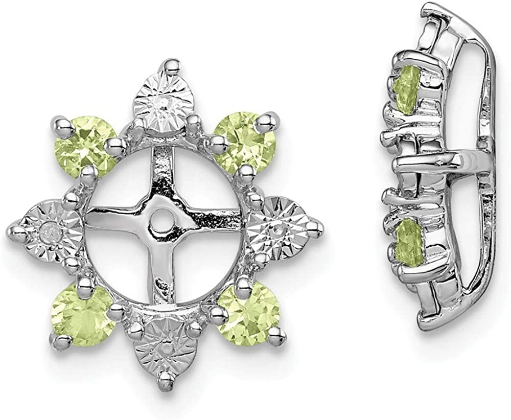 13mm x 13mm Mia Diamonds 925 Sterling Silver Solid Rhodium Plated Diamond Peridot Hinged Earrings .02cttw