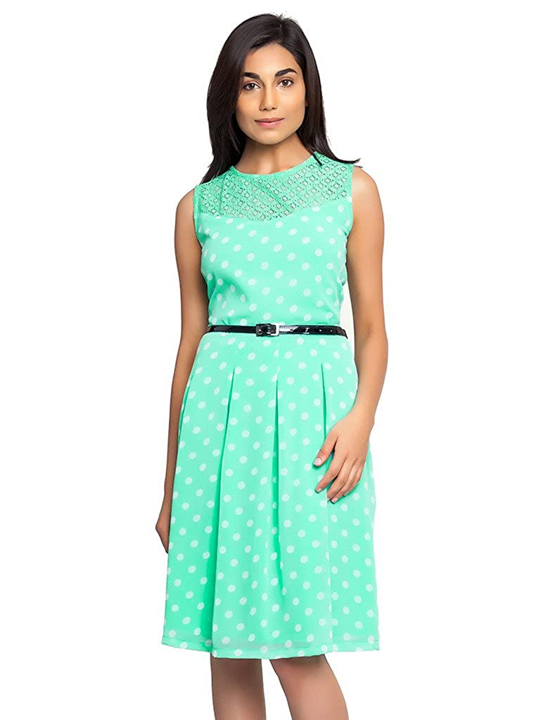 32923e6da4 Femninora Kiwi Green Color Dress with White Polka Dot and Black Belt   Amazon.in  Clothing   Accessories