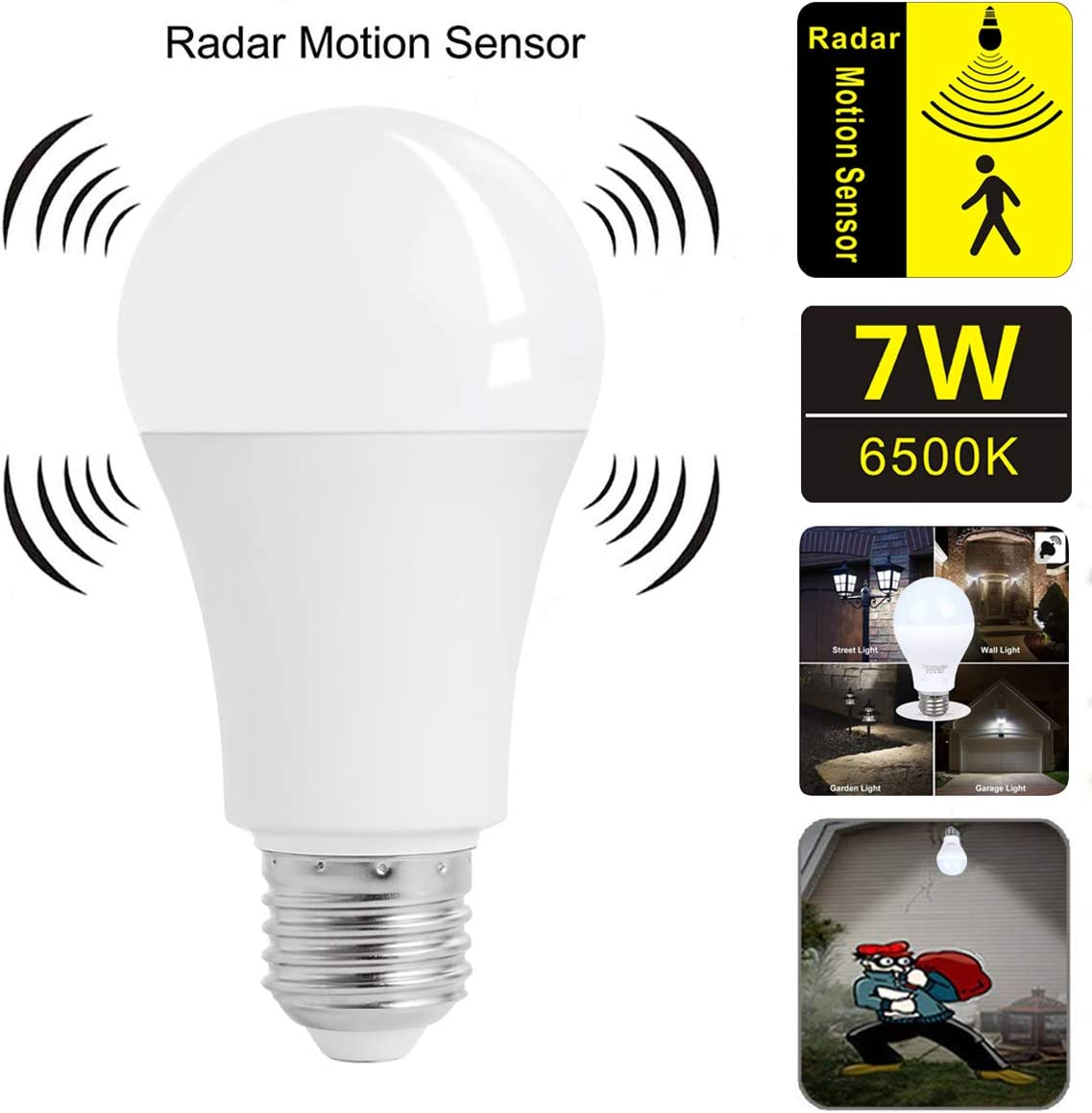 Motion Sensor Light Bulb,7W Smart Bulb Dusk to Dawn,E26 Base Indoor,Radar Motion Sensor Light Bulbs, White 6500K Outdoor Motion Sensor Bulbs Auto On/Off by aijiaer