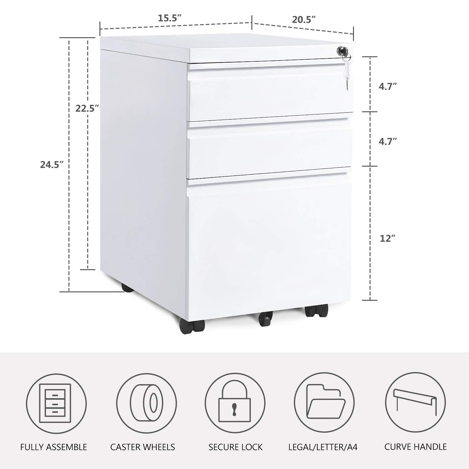 Merax 3-Drawer Mobile File Cabinet with Keys, Fully Assembled Except Casters White