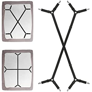 Foloda Bed Sheet Fasteners, 2 PCS Adjustable Crisscross Fitted Sheet Band Straps Grippers Suspenders for Bed Sheets,Mattress Covers