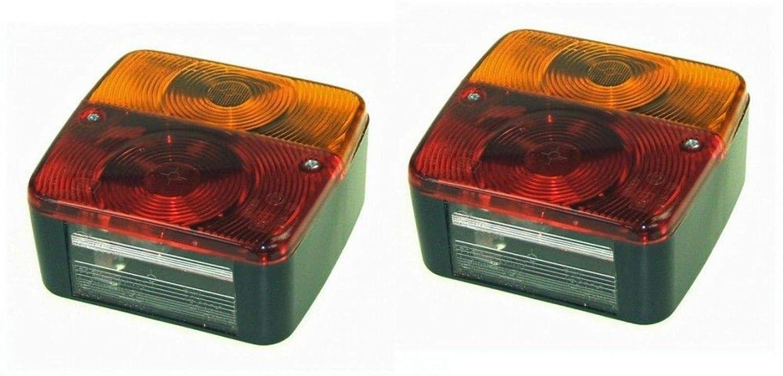 PAIR RADEX SQUARE 4 COMBINATION TRAILER//CARAVAN//REAR LAMP LIGHT W//BULB MP17B x 2 MAYPOLE