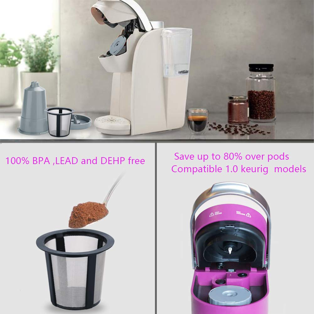Reusable Filter,Coffee Filters Reusable K Cups Fit For B30 B40 B50 B60 B70 Series, Easy To Use Refillable Single Cup,Eco Friendly Stainless Steel Mesh Filter (Pack of 3)