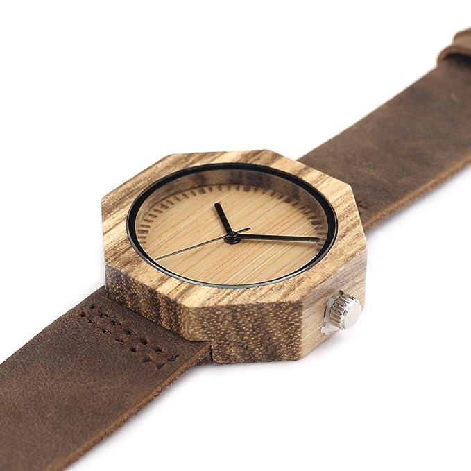 ebdc7cf3380 GXS montres Bamboo   table en bois faces vierges octogonales aiguille chauve    business montre casual   montre à quartz  Amazon.fr  Sports et Loisirs