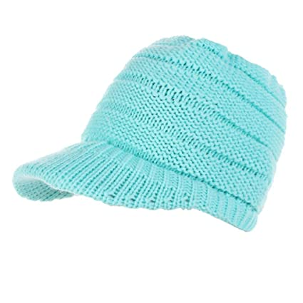 74e0e7126bc Unisex Visor Cap Winter Chunky Soft Stretch Cable Knit Warm Skully Beanie  Slouchy Caps Hat (Blue): Musical Instruments