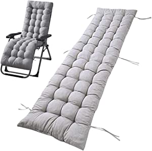 67 Inch Lounger Cushion, Outdoor Lounge Chair Cushion with Non-Slip Cover and Tie Rope.Use This Cushions for Your deckchair (Gray)