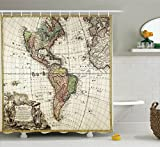 Ambesonne Wanderlust Decor Collection, Old Map Europe North South America Canada Medieval Atlantic Heritage Travel Image, Polyester Fabric Bathroom Shower Curtain Set with Hooks, Ivory Olive