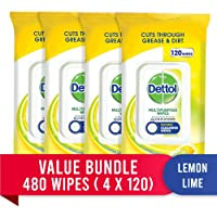 Dettol Multipurpose Antibacterial Disinfectant Surface Cleaning Wipes Lemon Lime Bundle (4 x 120 pack)