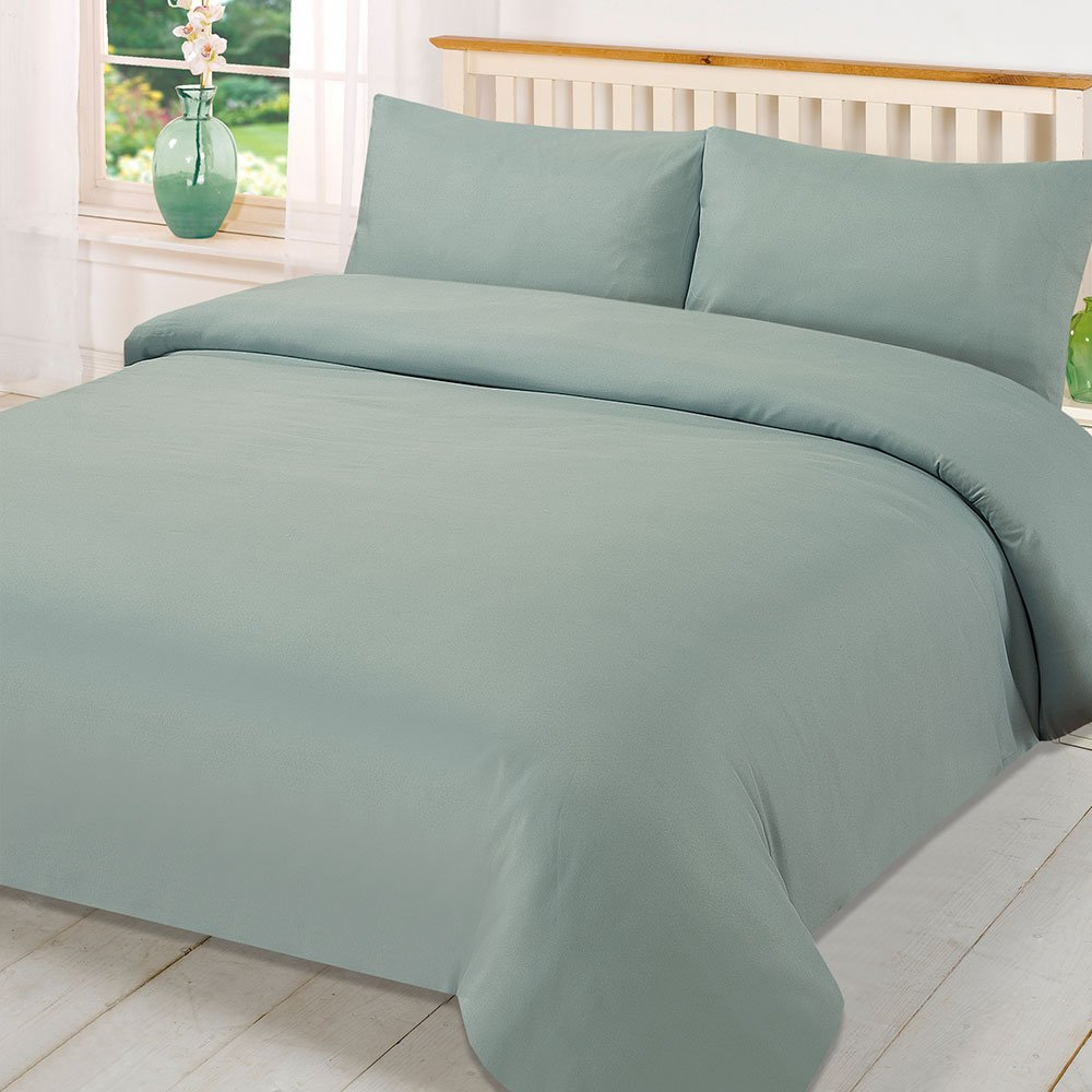 Dreamscene Plain Dyed Duvet Cover With Pillowcase - King Size Bed - Duck Egg Quilt Bedding Set