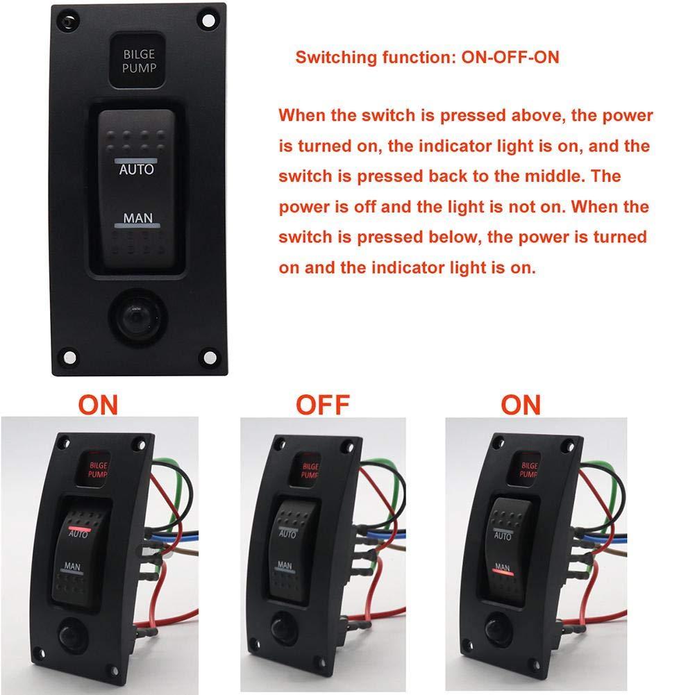 Tuankayuk Interrupteur /à Bascule Panneau de Commutation POMPE DE CALE AUTO//OFF//MANUEL avec Disjoncteur pour Bateau Marine